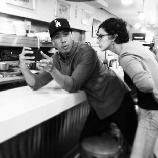 Lester (DOP) and Anita (Co-Director) discuss a shot during a location scout