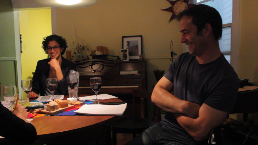 "Anita (director) and Vincent (""Oliver"") share a laugh"