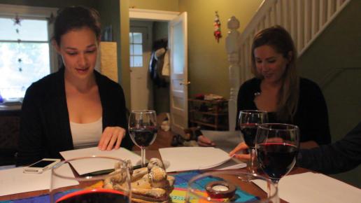 "Shannon (""Samantha"") and Terri (""Jenny"") go through their lines."